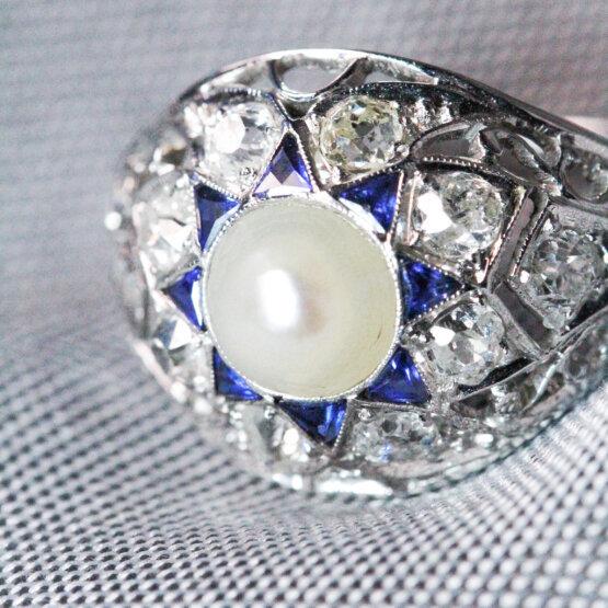 pierścionek z perłą barokową